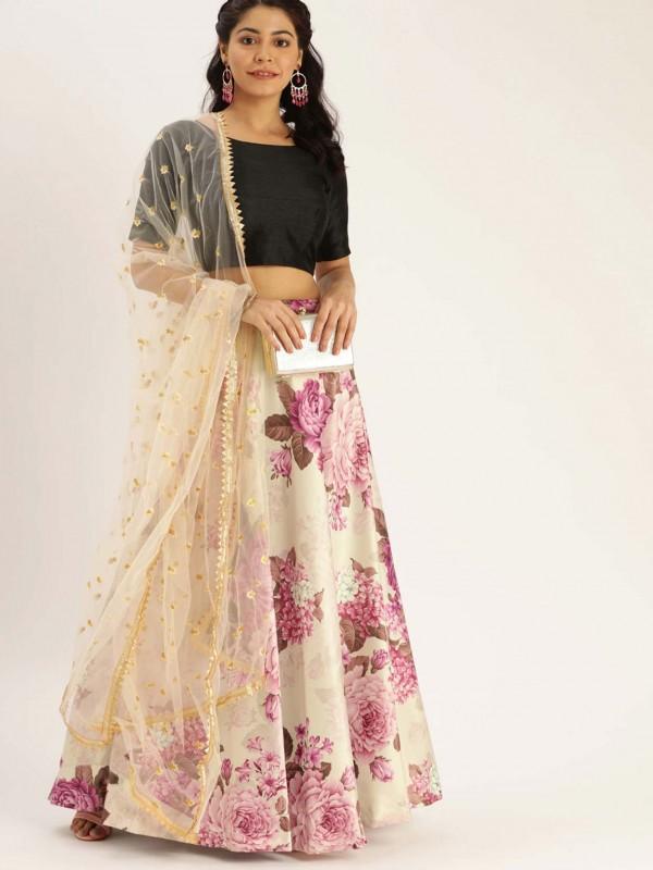 Cream,Pink Colour Satin,Silk Lehenga Choli.