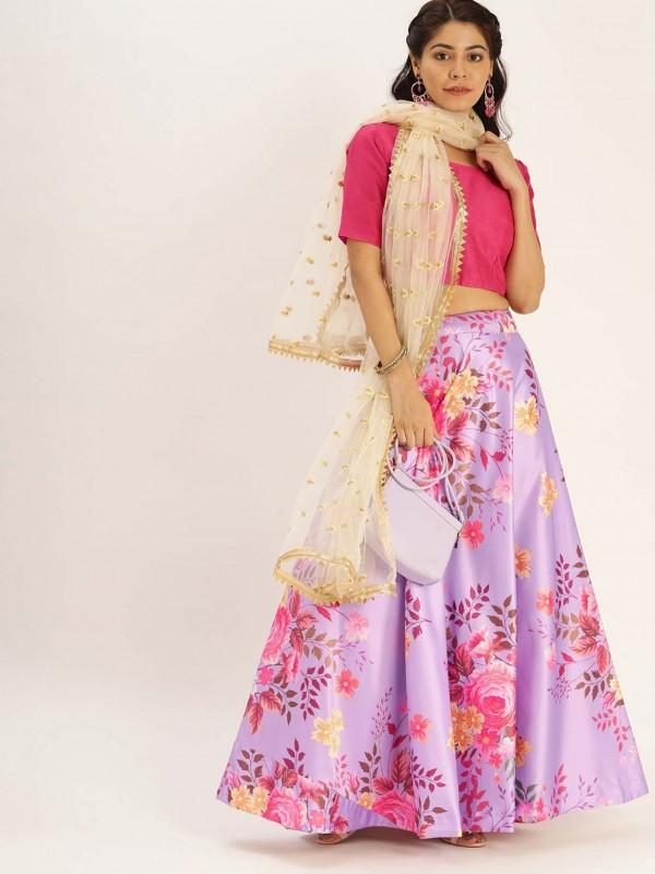 Pink Colour in Satin,Silk Printed Lehenga Choli.
