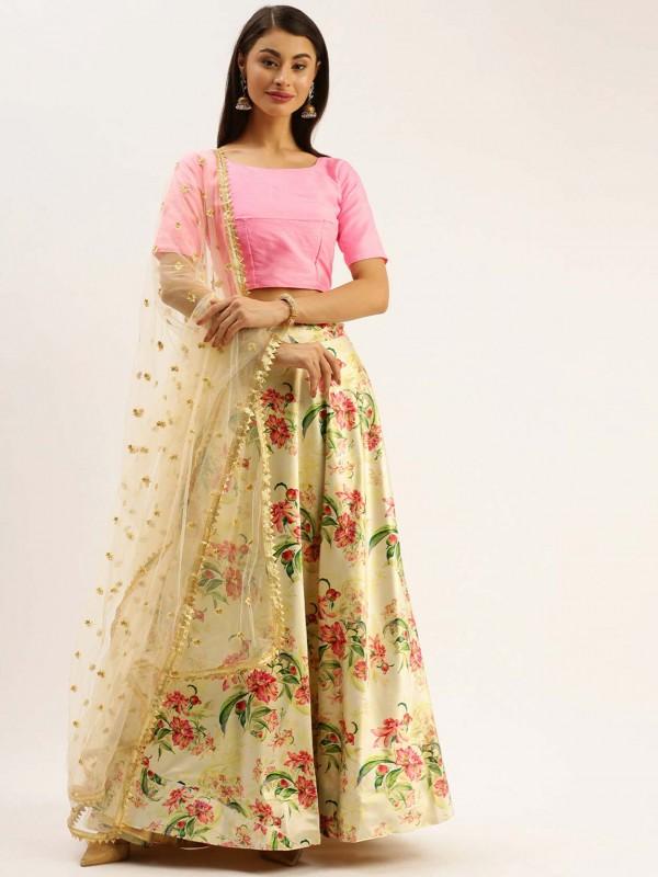 Golden Colour Satin,Silk Designer Lehenga.