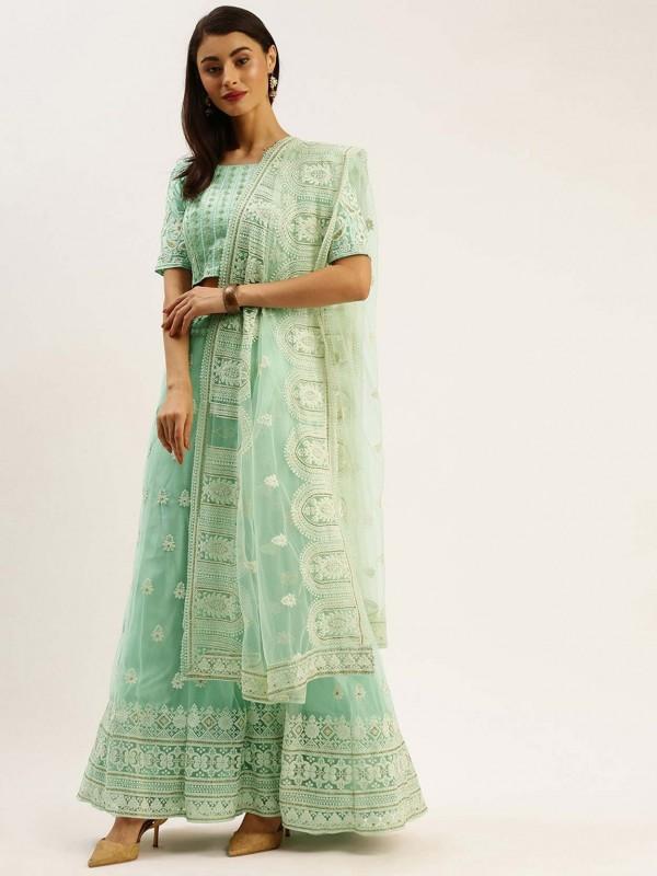 Turquoise Colour Net Designer Lehenga Choli.