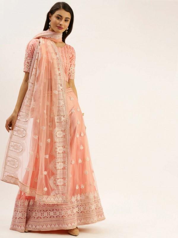 Peach Colour Net Fabric Lehenga Choli.