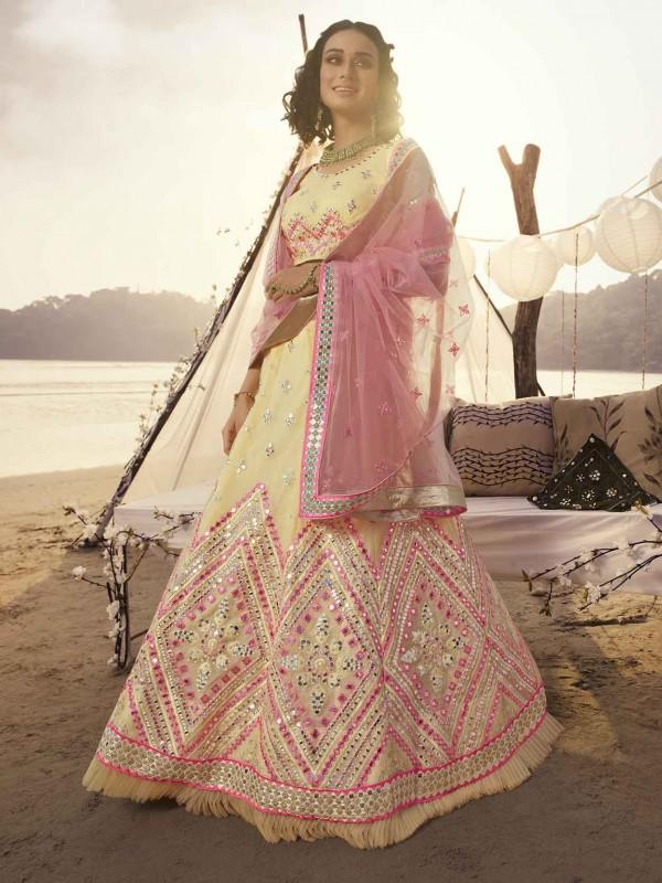 Off White Colour in Organza Fabric Lehenga Choli.
