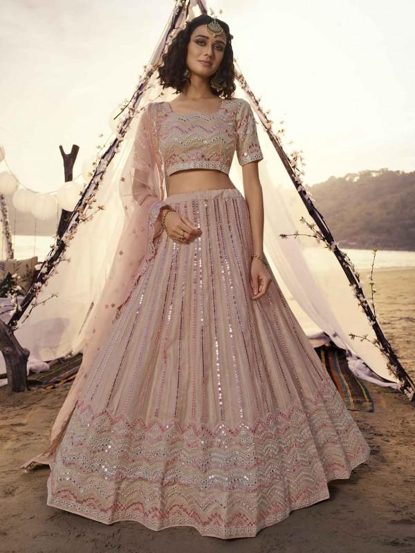 Peach Colour Organza Fabric Women Lehenga Choli.