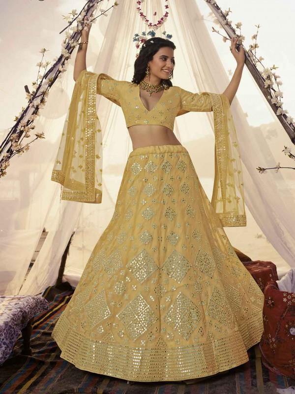 Masturd Yellow Colour Designer Lehenga Choli.