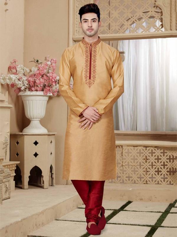 Designer Kurta Pajama Golden Colour in Art Dupion Fabric.