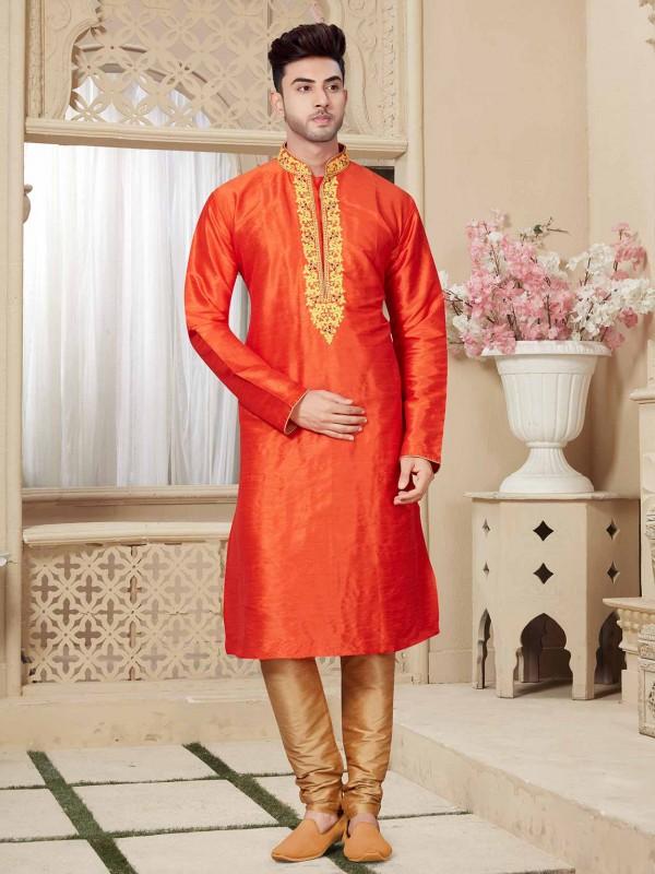 Orange Colour Traditional Kurta Pajama.