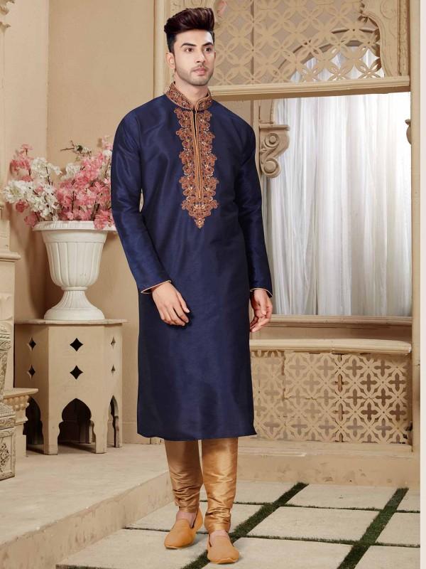 Navy Blue Party Wear Kurta Pajama With Art Dupion Fabric.