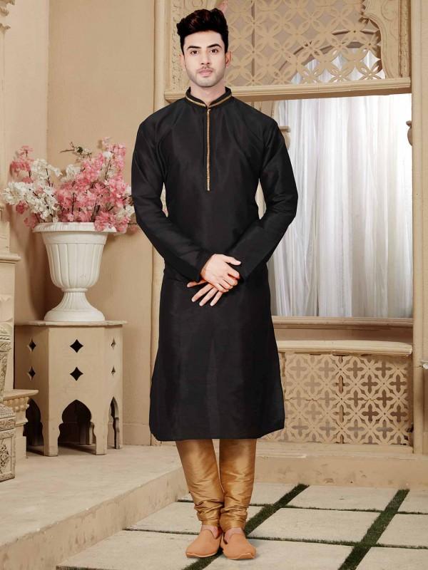 Black Colour Art Dupion Men's Kurta Pajama.