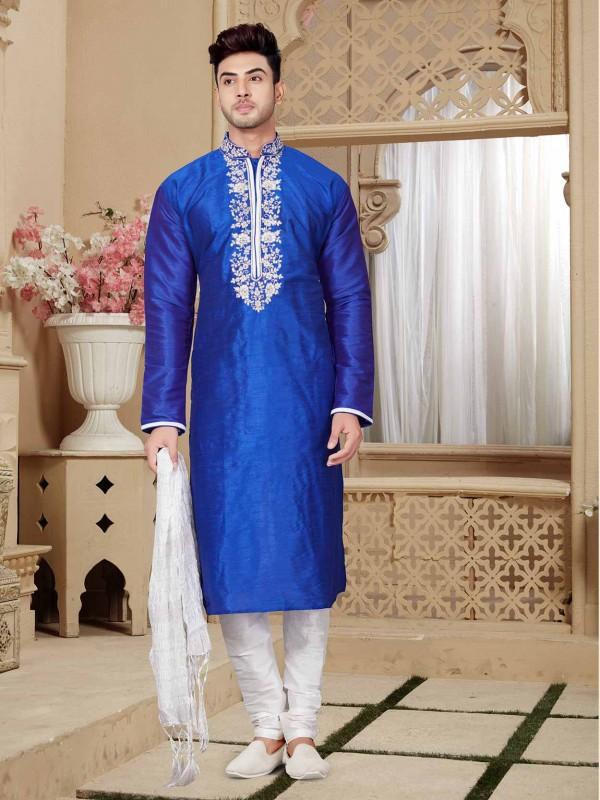Art Dupion Men's Kurta Pajama in Royal Blue Colour.
