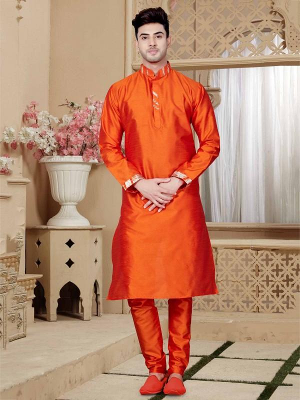 Orange Colour Traditional Kurta Pajama in ArtDupion Fabric.