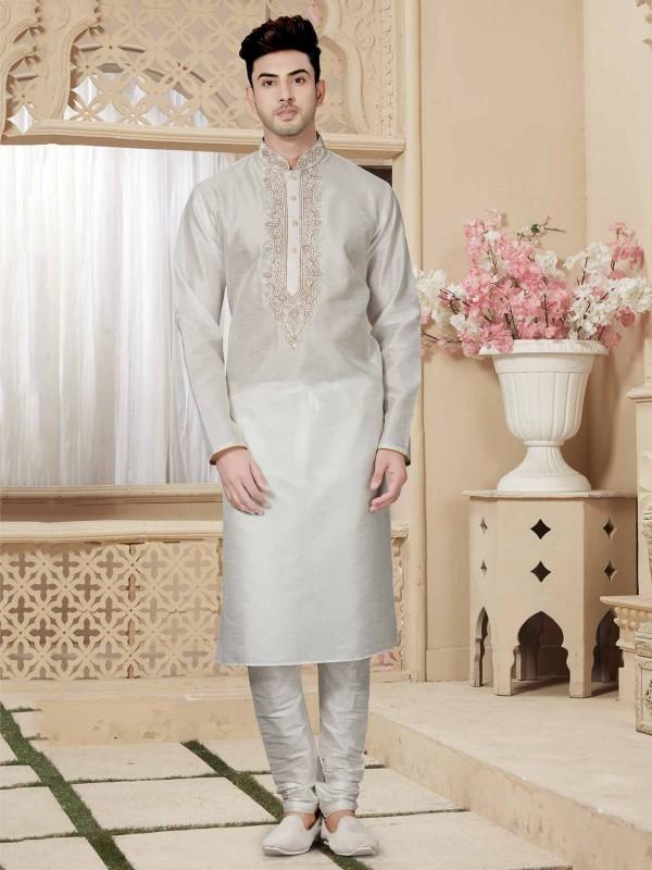 Art Dupion Men's Kurta Pajama in Off White Colour.