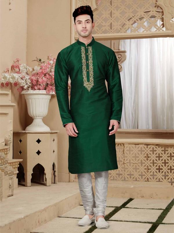 Green Colour Designer Men's Kurta Pajama.