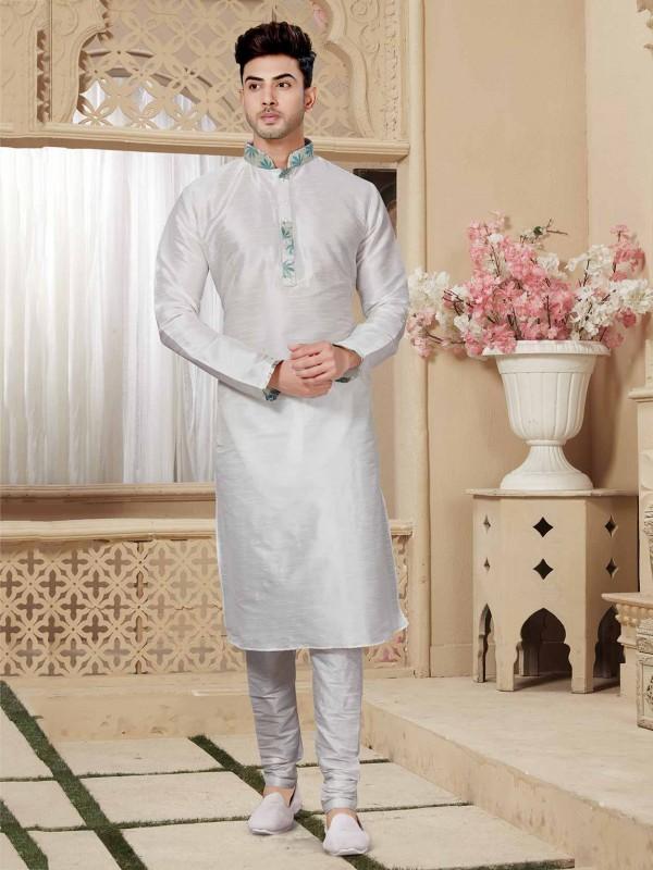 Off White Art Dupion Readymade Kurta Pajama.