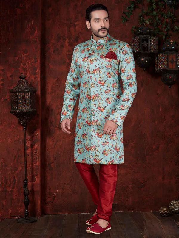 Blue,Maroon Colour Designer Indowestern.