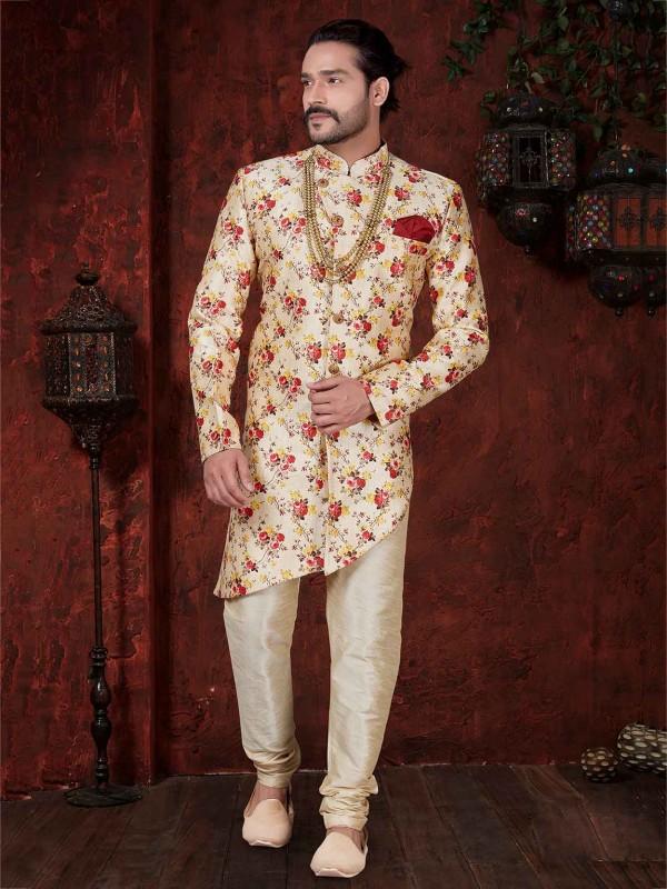 Cream,Maroon Colour Designer Men's Indowestern.