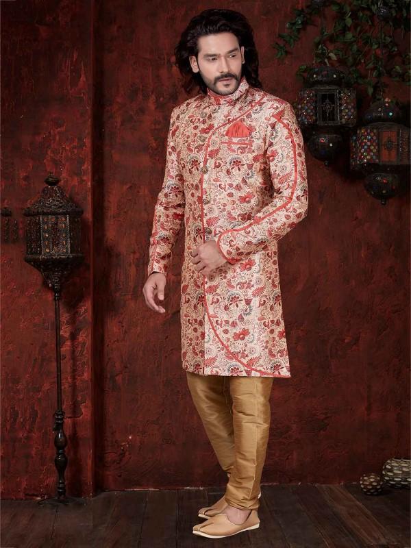 Red,Cream Colour Silk Indowestern.