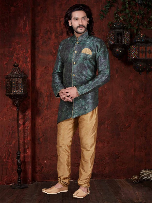 Stylish Green Colour Silk Men's Indowestern.