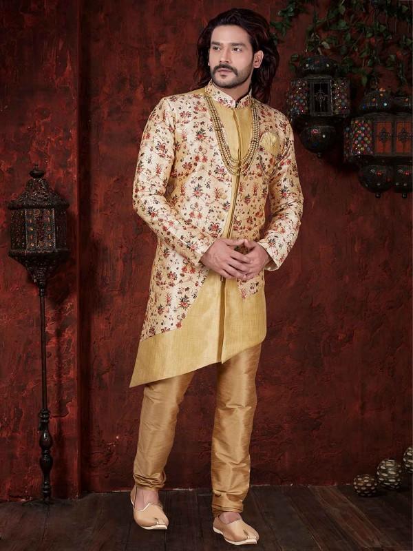 Jacquard,Silk Party Wear Indowestern in Cream Colour.