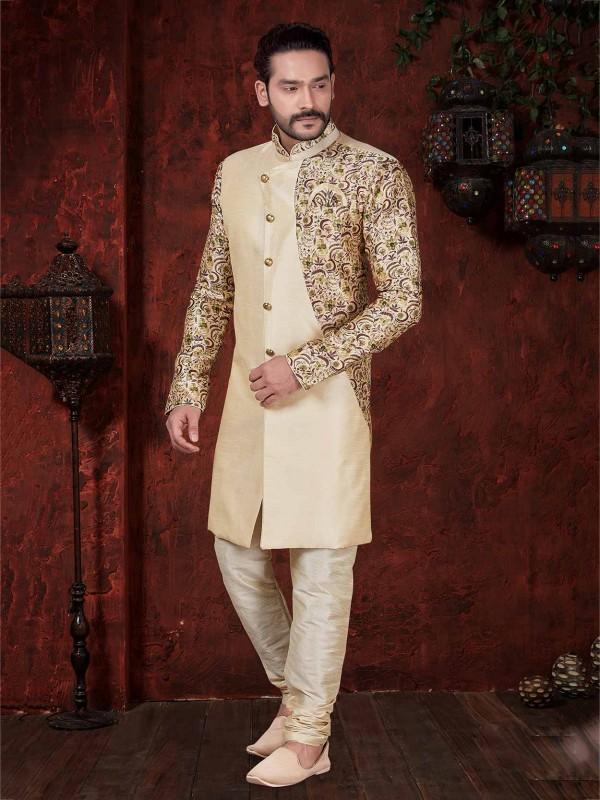 Cream Colour Silk Indowestern With Digital Print Work