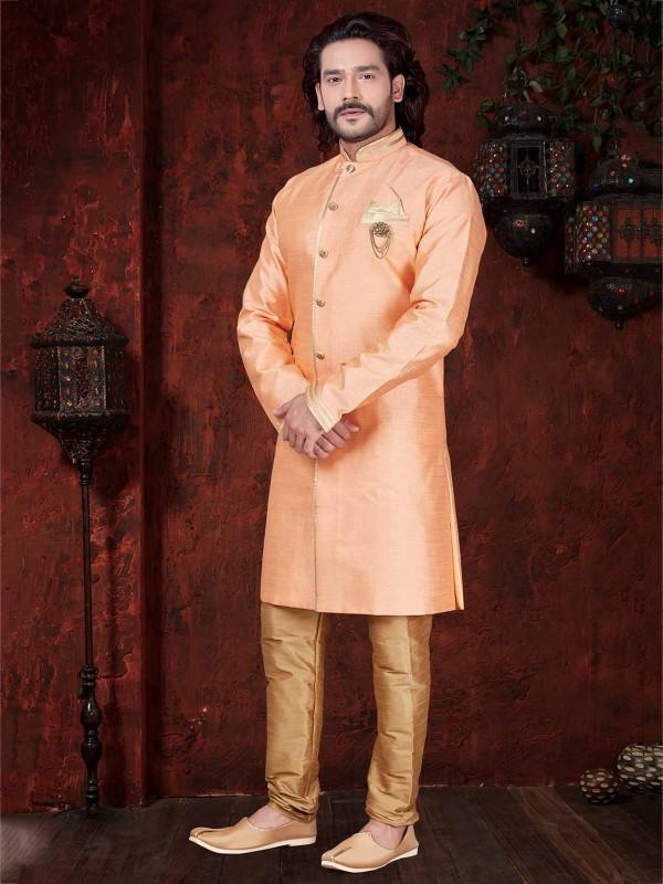 Silk Indowestern in Orange Colour.