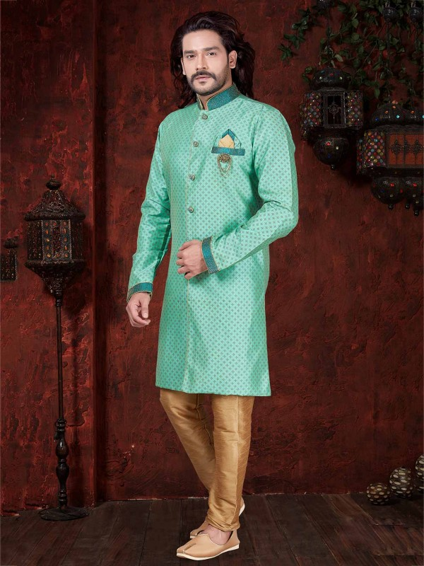 Men's Indowestern Sea Green Colour in Silk Fabric.
