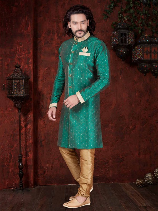 Green Colour Printed Indowestern.