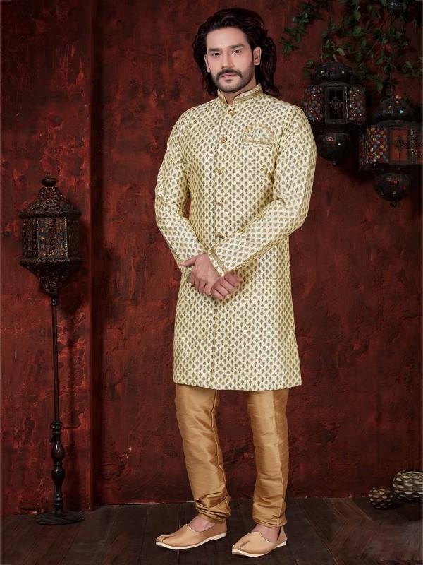 Cream Colour Silk Designer Printed Indowestern.