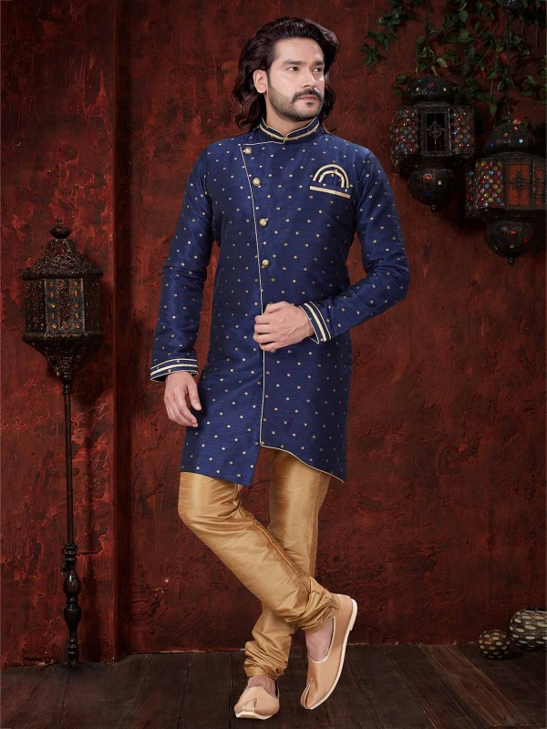 Navy Blue Colour Silk Indowestern.