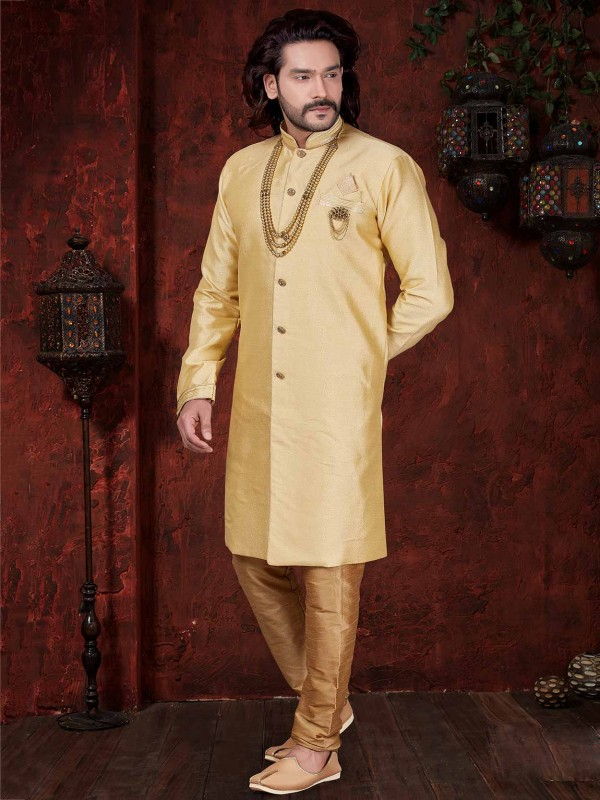 Golden Colour Designer Men's Indowestern.