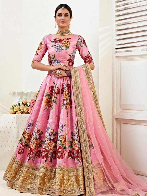 Pink Colour Silk,Satin Fabric Designer Lehenga Choli.
