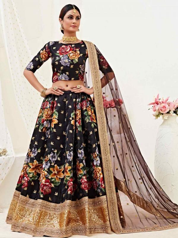 Silk,Satin Party Wear Lehenga Choli in Black Colour.