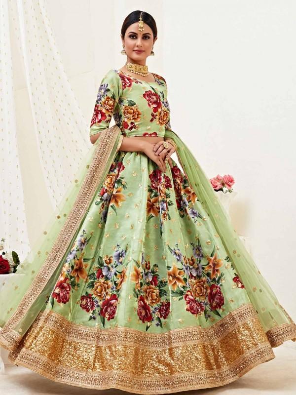Digital Print Lehenga Choli in Pista Green Colour.