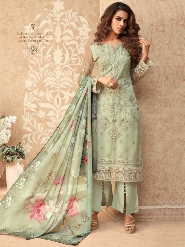 Green Colour Banglori Silk Salwar Suit.