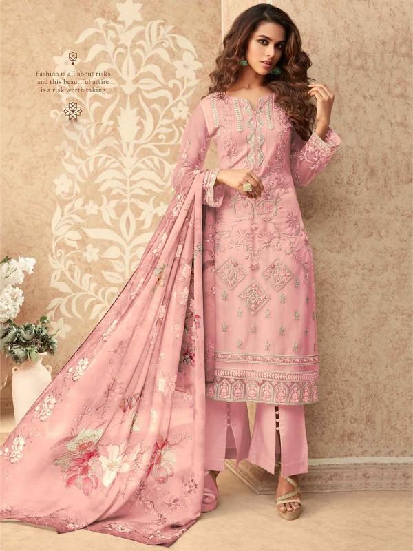 Banglori Silk Salwar Suit in Baby Pink Colour.