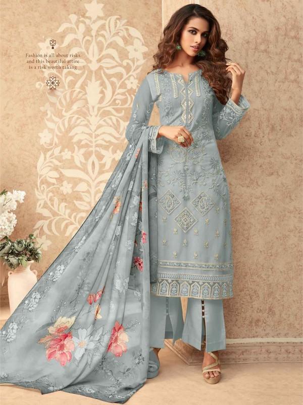 Grey Colour Banglori Silk Salwar Kameez.