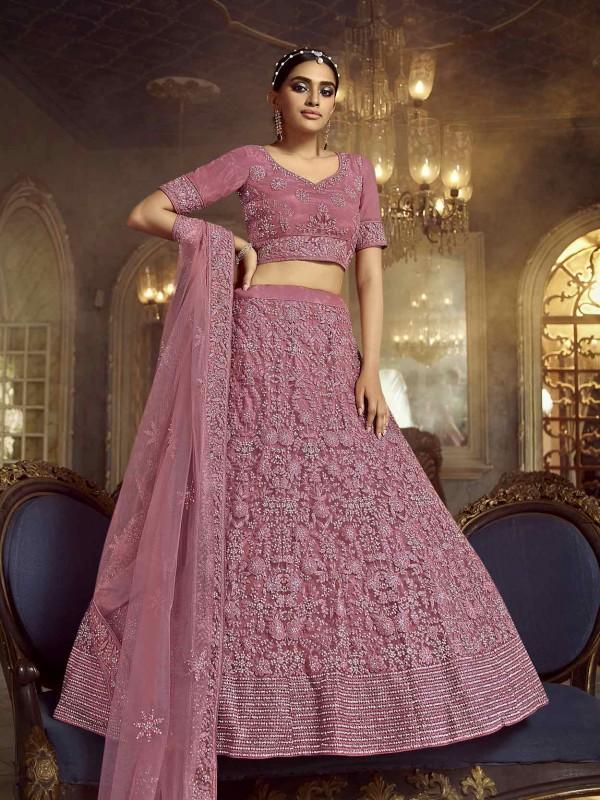 Pink Colour Soft Net Designer Lehenga Choli.
