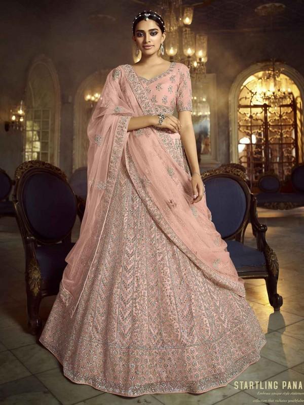 Wedding Lehenga Choli Peach Colour in Soft Net Fabric.