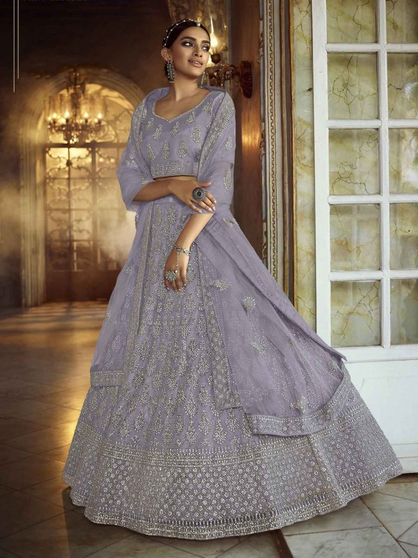 Soft Net Lehenga Choli in Grey Colour.