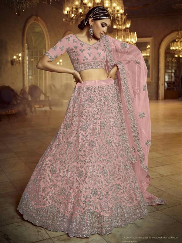 Pink Colour Soft Net Designer Lehenga.