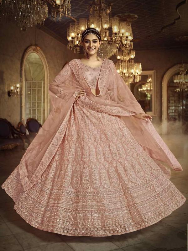Peach Colour Net Indian Designer Lehenga.