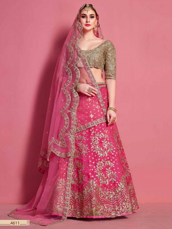 Magenta Colour Art Silk Wedding Lehenga Choli.