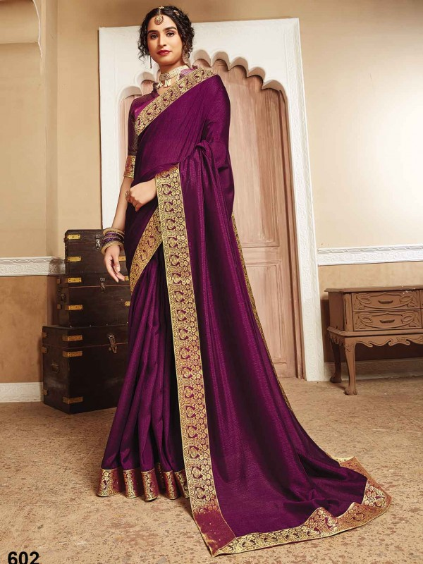 Silk Party Wear Saree in Purple Colour.