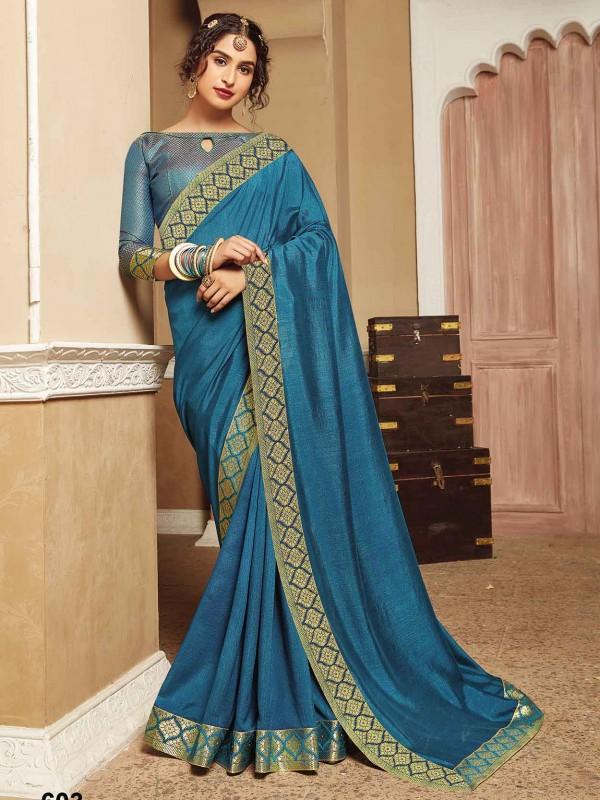 Teal Blue Colour Silk Saree With Zari Work.