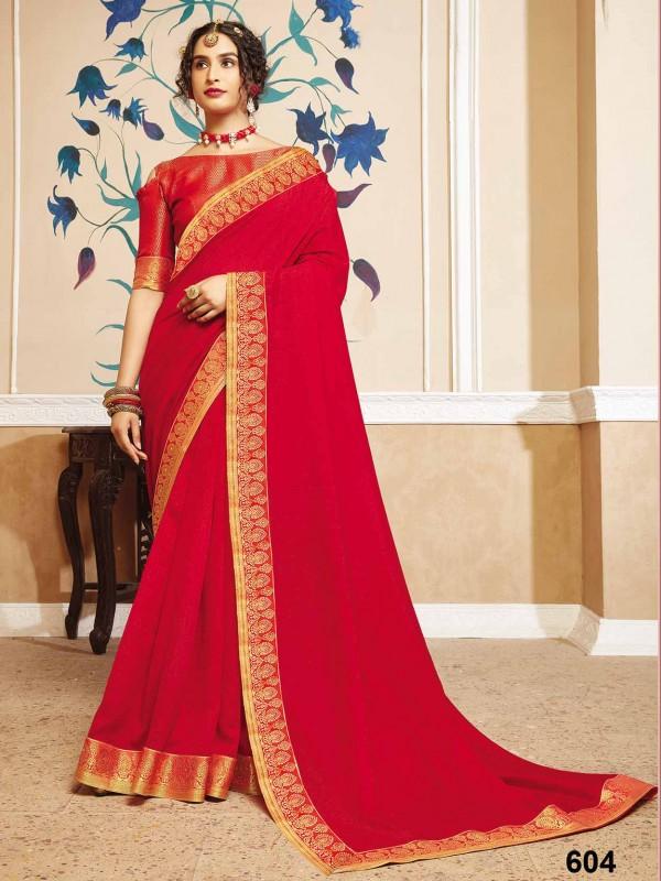 Red Colour Designer Saree Silk Fabric.