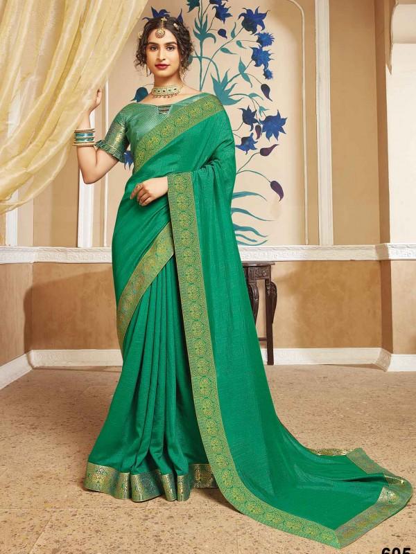 Green Colour Silk Women Saree.
