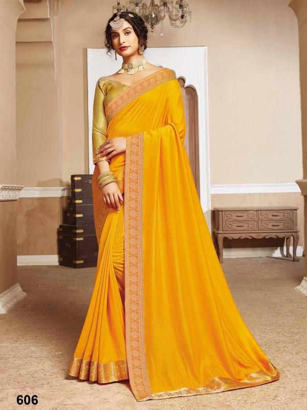Yellow Silk Indian Designer Saree.