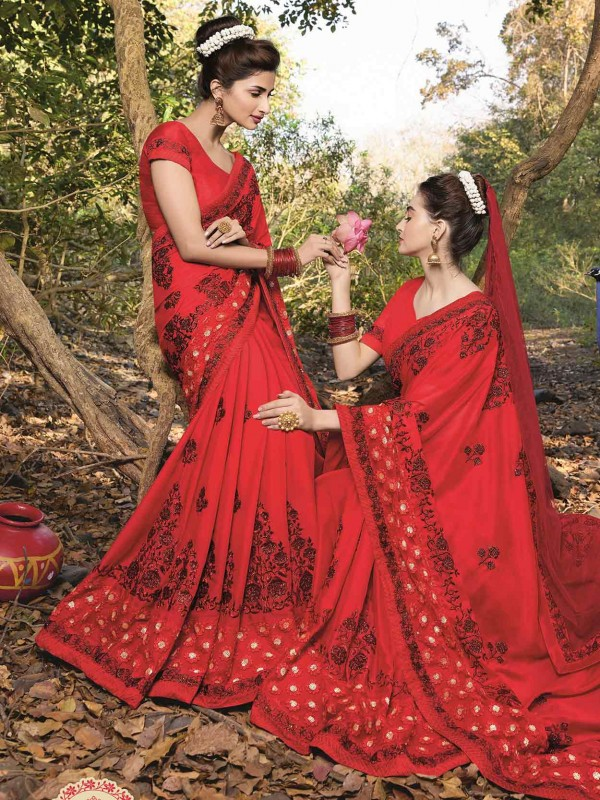 Red Colour Georgette Saree.