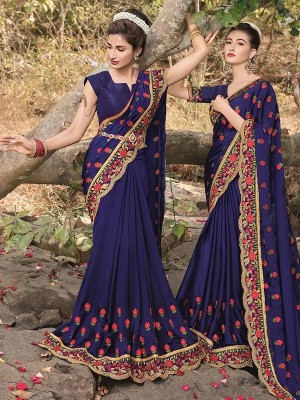 Blue in Georgette Fabric Saree With Zari,Thread Work.