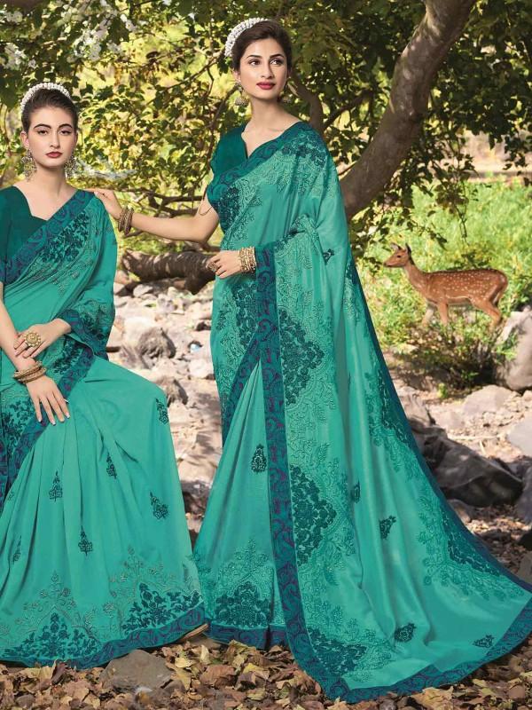 Green Colour Georgette Saree in Zari,Thread Work.