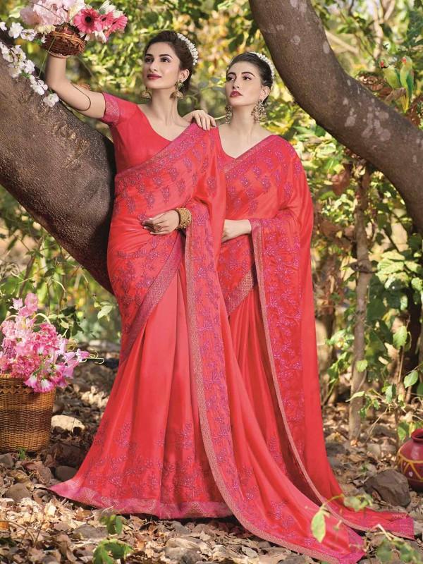 Pink Colour Georgette Women Saree.